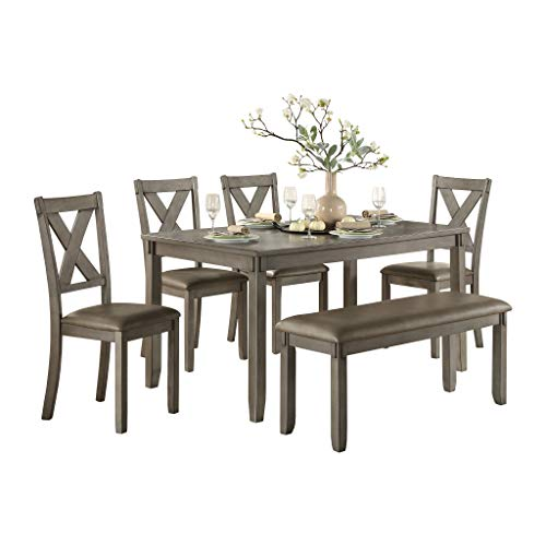 Homelegance Holders 6-Piece Pack Dinette Set, Gray (Room Tables Clearance Dining)