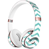 Teal and White Jagged Chevron DesignSkinz Full-Body Skin Kit for the Beats by Dre Solo 3 Wireless Headphones / Ultra-Thin / Matte Finished / Protective Skin Wrap