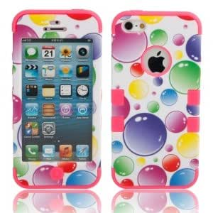 3-in-1 Colorized Bubbles Pattern Silicone Protective Case for iPhone 5/5S Rose Red