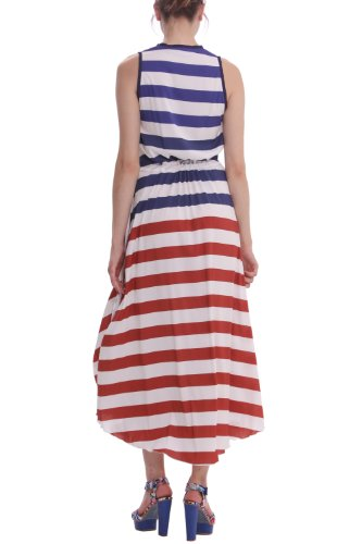 Desigual - Robe - À Rayures - Sans Manche - Femme Bleu bleu/rouge 42