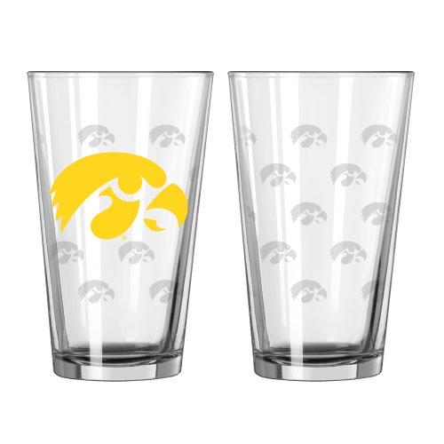 Boelter Brands NCAA Iowa Hawkeyes Satin Etch Pint, 16-ounce, 2-Pack