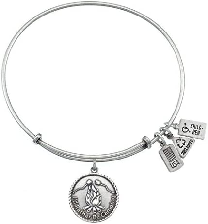 Wind /& Fire Id Rather Be Camping Silver Finish Charm Bangle