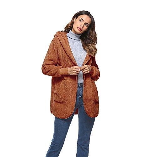 Fourrure Shujin Manteau Gilet pour Automne Hiver Veste Casual Artificiel Fashion Femme Brun Cardigan 4qOwxq6faW