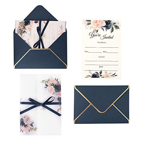 Kitchen Bridal Shower Invitations - Doris Home 250 GSM 5 x7.3 inch Invitations Cards with Envelopes and Printed Inner Sheets for Bridal Shower Invite, Baby Shower Invitations, Wedding, Rehearsal Dinner Invites, CW0016 (Blue, 25pcs)