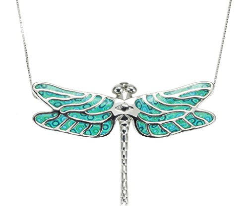 925 Sterling Silver Dragonfly Necklace Pendant Handmade Sea Green Polymer Clay Jewelry, 16.5