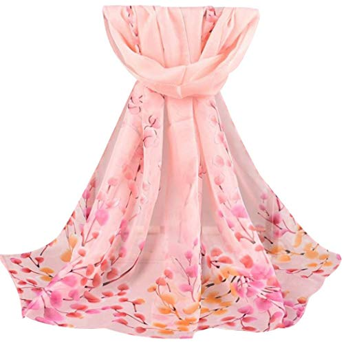 426JingYu Unique Women's Floral Scarves: Soft Blossom Printed Long Shawl Soft Wrap Chiffon Scarves Pink