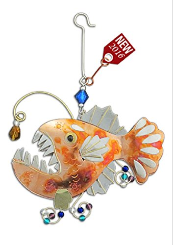 Angler Fish Bronze Nickel and Copper Hanging Ornament Garden Planter Handmade Gift Boxed