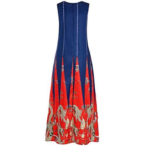 QQ1980s Women Plus Size Dragon Stripe Print Sundress Daily Vintage Bohemian V Neck Maxi Dress (Red, 3XL) (Charming Stripe Collar)