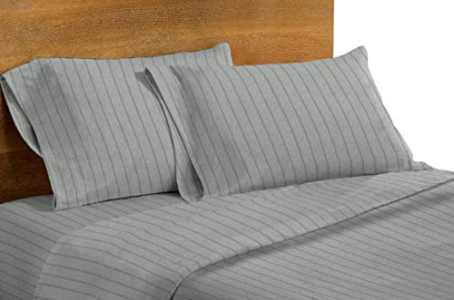 Dormisette Luxury German Flannel Sheets & Pillowcases Set, 4 Piece, Light Gray Heather Double Pinstripe (Full)