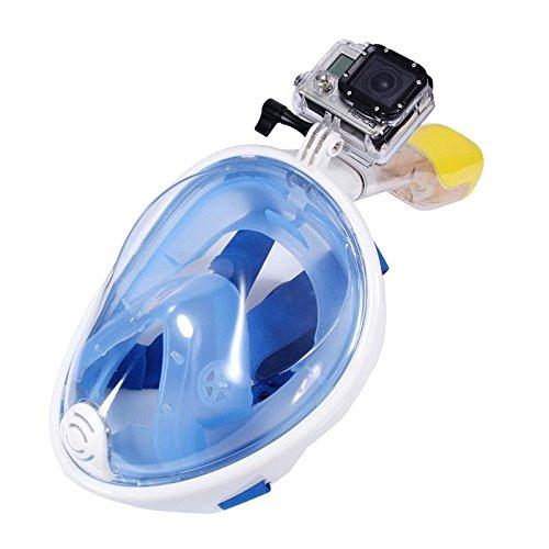 E-TOP Schnorchelmaske Easybreath Tauchmaske Vollmaske Schnorchel Scuba Taucherbrille Tauchen Maske Für HD Action-Kamera(Blau,L/XL)