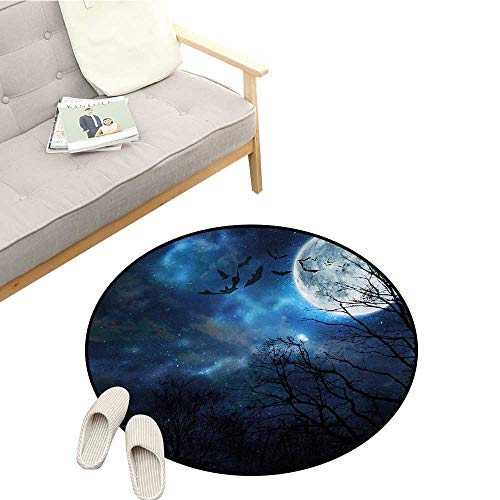 (Halloween Round Area Rug Bats Flying in Majestic Night Sky Moon Nebula Mystery Leafless Trees Forest Durable D55 Blue Black)