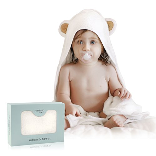 Natemia Extra Soft Rayon from Bamboo Baby Hooded Towel | Super Absorbent and Hypoallergenic | Sized for Infant and Toddler - Infants Hooded Bath Towel