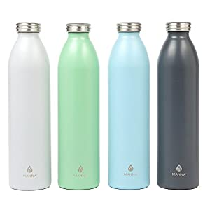 Manna Retro Matte Stainless Steel Double Walled Vacuum Insulated 32 oz Bottle | No Sweat | BPA FREE Keeps Drinks Hot 12 Hours & Cold 24 Hours | Perfect for Water or Wine – Cloud