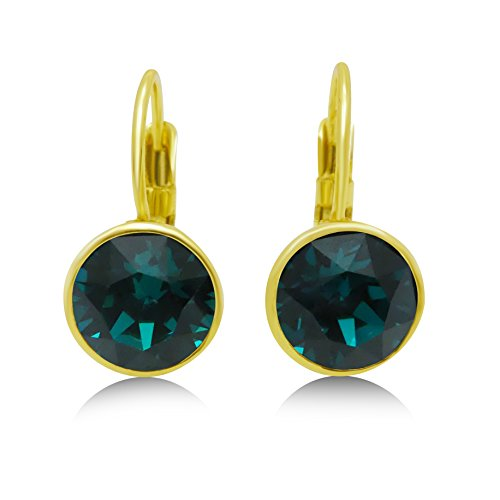 Swarovski Crystal Leverback Earrings - 8mm Dangling Navette; 15X Yellow Gold Plated (Emerald Green) (Swarovski Bezel Earring)