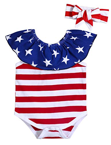Lankey 4th of July Clothes Newborn Baby Girl Independence Day American Flag Stripe Star Romper with Headband(12-18M) Red