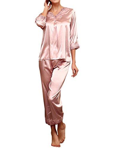 Pink Lace Capri 2 Piece - LAPAYA Women's Satin Pajama Sets 3/4 Sleeve V Neck Lace Trim Two Piece Sleepwear, Pink, Tag Size L=US Size S
