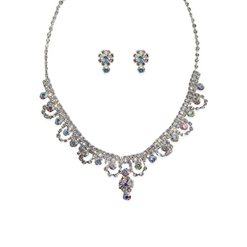 Jcpenney Costume Jewelry (Jessica McClintock Iridescent Crystal Necklace & Earring 2-Piece Boxed Set Gift for Woman)