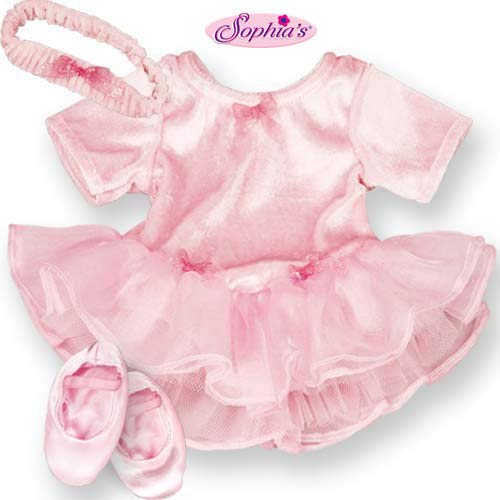 Itty Bitty Glitter - Sophia's 15 Inch Baby Doll Outfit Pink Ballet 3 Pc. Clothes Outfit, Fits 15 Inch American Girl Bitty Baby Dolls| Soft Velour, Chiffon & Tulle Pink Baby Doll Ballet Dress Set