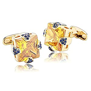 Alimab Jewelry Men's Cuff Links Four Claw with Cubic Zieconia Yellow - Stainless Steel Men Cufflinks