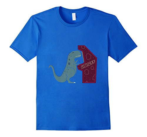 Men's Irony gamer T rex shirt funny XL Royal Blue (Dinosaur Costume Adults Realistic)