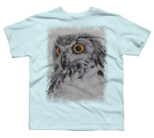 Design By Humans Spirit Owl Boy's X-Small Light Blue Youth Graphic T Shirt