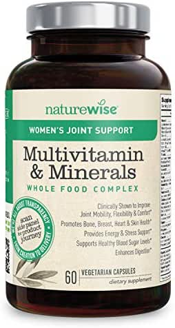 NatureWise Women's Multivitamin Whole Food Complex with Joint Support | Vitamins for Healthy Heart & Bones + UC-II Collagen for Joint Mobility & Comfort (⬇ Watch Video in Images) [1 Month - 60Count]