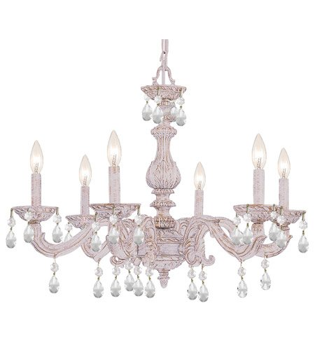 5036-AW-CL-SAQ Sutton 6LT Chandelier, Antique White Finish with Clear Swarovski Spectra Crystal by Crystorama Lighting Group by Crystorama