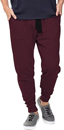 Mrignt Mens Casual Jogger Sweat Pants Cotton Active Elastic Waist Running Sports Trousers(WineRed,M)