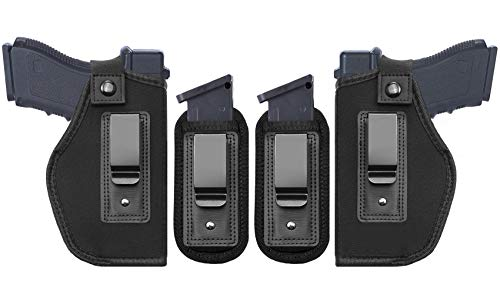 TACwolf 4PC Universal Right and Left IWB Holster Magazine Pouch for Concealed Carry Inside Fits Firearms Glock 19 17 26 27 43 S&W M&P Shield 9/40 1911 Taurus PT111 G2 Sig Sauer Ruger