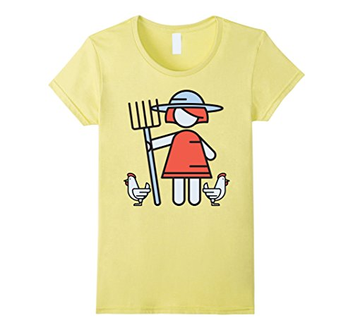 Womens Chicken Lady Farmer Tshirt | Farm Life Husband gift Large Lemon