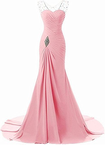 Lily Wedding Womens Mermaid Prom Bridesmaid Dresses 2018 Long Evening Formal Party Ball Gowns FED003 Pink Size16