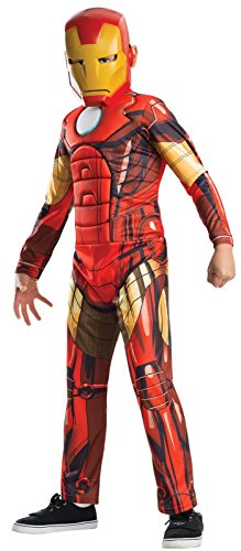 Official Iron Man Costume (Rubies Marvel Universe Classic Collection Avengers Assemble Deluxe Muscle-Chest Iron Man Costume, 44-48
