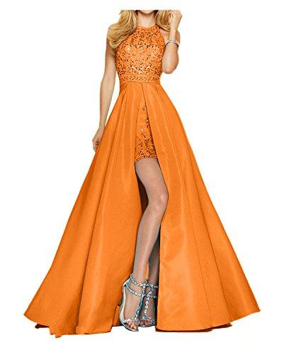 Abiball Charmant Damen Partykleider Orange Promkleider Neu 2018 Abendkleider Tanzenkleider Hundkragen mit Steine Schleppe r18rx0