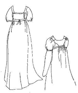 1800-1815 Bib Front Muslin Dress (Size Large (1812 Era Costumes)