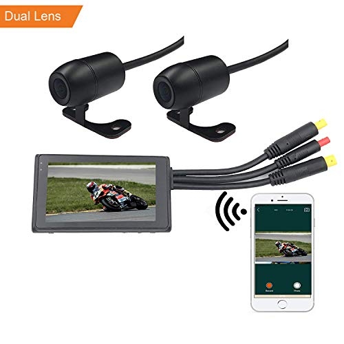 (VGSION WiFi Waterproof Dual Lens Motorcycle DVR Camera Recording System with 3 inch Monitor (Front and Rear Camera))