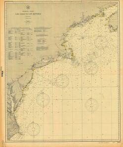 (Historical Nautical Chart 1000-07-1906: NC, Cape Sable to Cape Hatteras Year 1906)