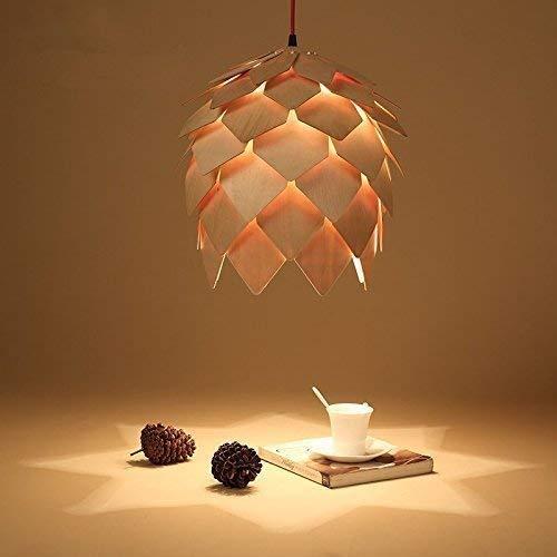 Arturesthome Wood Pine Cone Pendant Lamp, Creative Wooden Chandelier Fixture, Art Home Decor Ceiling Light