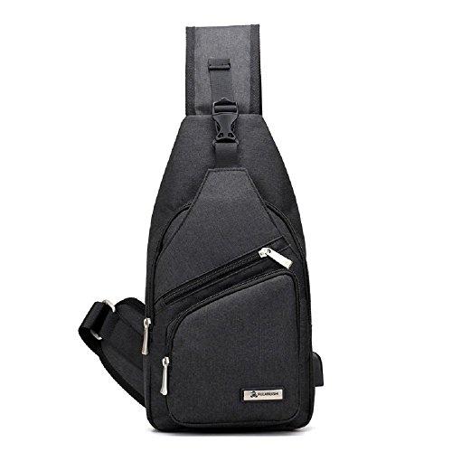 Negro Mochila Impermeable USB Bolso Pecho de Bolso Zhrui de Cargador Bolso Hombro de Hombres Negro q6pnctB