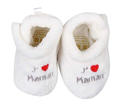 """j'aime maman-Patucos para bebé Blanco - blanco"
