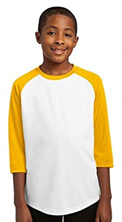 cfc62d263 Amazon.com  Sport-Tek YST205 Youth PosiCharge Baseball Jersey-White ...