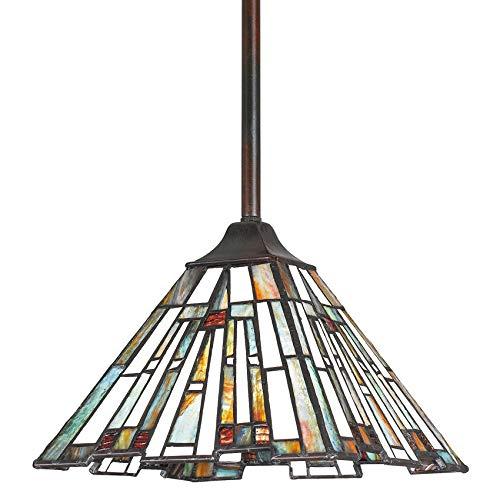 Quoizel TFMK1508VA Maybeck Tiffany Mini Pendant Ceiling Lighting, 1-Light, 100 Watt, Valiant Bronze (6