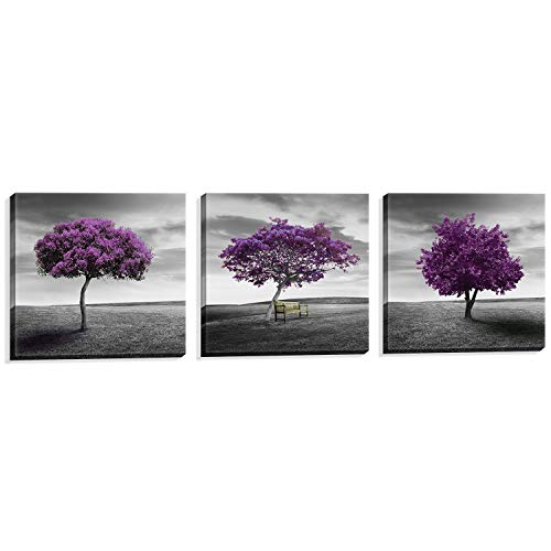 - NUOLAN Canvas Print 3 Panels Purple Trees Modern Landscape Framed Canvas Wall Art -P3L3030-003
