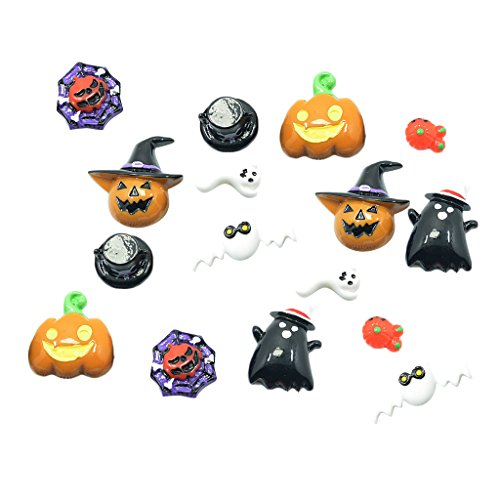 MagiDeal 16 Pieces Lots Mixed DIY Flatbacks Resin Flat Back Pumpkin, Ghost, Devil, Bat, Spider Web Halloween Cabochon Buttons Scrapbooking Charm DIY Embellishment Craft Making -