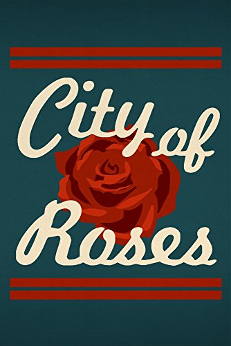 Portland, Oregon - Retro Skyline - City of Roses (36x54 Giclee Gallery Print, Wall Decor Travel Poster)