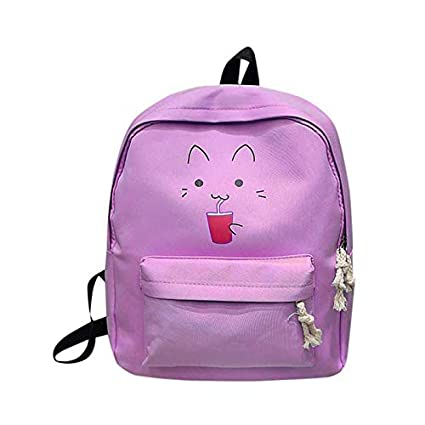 Amazon.com: Girl Boy Cartoon Zipper Nylon Backpack School Bags for Teenagers Girls 2018 Casual Black Printing Rucksack mochilas: Kitchen & Dining