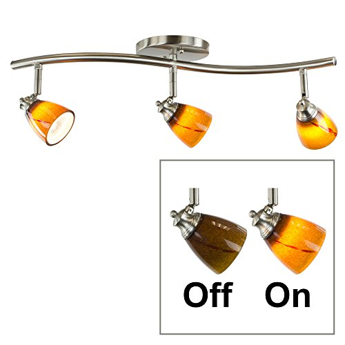 Direct-Lighting 3 Lights Adjustable Track Lighting Kit - Brushed Steel Finish - Amber Glass Track Heads - GU10 Bulbs Included. (Directional Track Head)