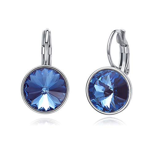 CRYSLOVE Blue Crystal Leverback Earrings, 925 Sterling Silver Round Bezel-Set Dangle Earring Studs Valentine's Day Birthday Gifts for Women Girls