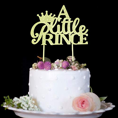 A Little Prince with Crown Cake Topper for Boy Baby Shower, Birthday, Wedding Party Decorations Gold Glitter