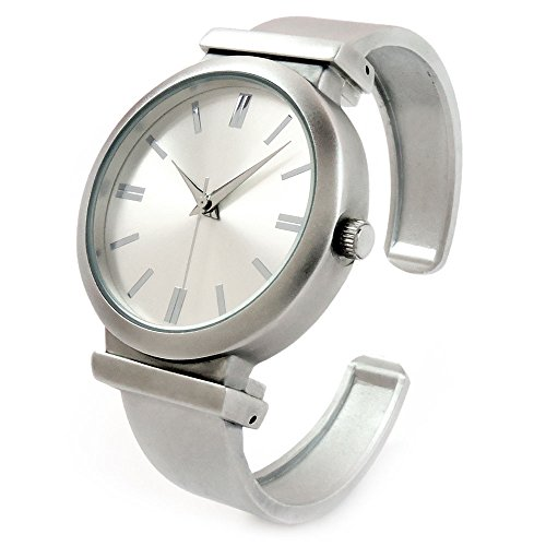 (Brushed Nickel Matte Finish Large Face Women's Bangle Cuff Watch)