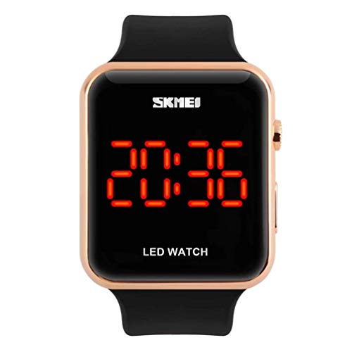 Unisex Square Large Face LED Digital Watch Electronic for Men Watch for Women Student Silicone Watches (Rose Gold)